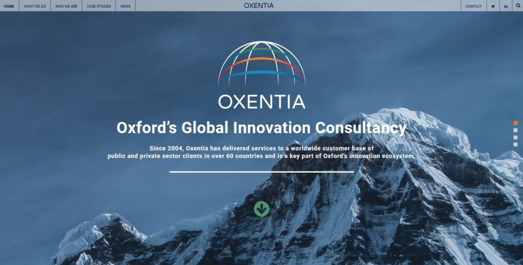 Homepage of new Oxentia website