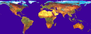 Worldwide coloured vegetation map based on SPOT Earth satellite data